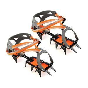 Docooler Crampons Mécanisme d'Escalade en Acier à 14 Points Crampons Pince à Glace Crampon Dispositif de Traction Mountaineering Glacier