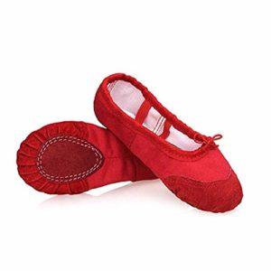 DoGeek Chaussure de Ballet Ballerine Fille Chaussure de Danse Chaussures Pilates Chaussures Yoga Gymnastique Split Plate Ballet Doux Toile Chaussons pour Enfants,Adultes,Filles,Rouge,38 EU