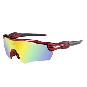 Duco Lunettes de Soleil polarisées Lunettes pour Sport, Cyclisme avec 5 Verres interchangeables 0028 (Rouge)