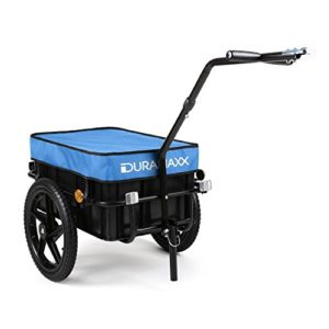 Duramaxx Big Blue Mike – Remorque pour vélo, Attelage vélo, Chariot à Main, avec Haute Barre de remorquage, Boîte de Transport avec 70 litres de Volume, Capacité de Charge: 40 kg Max, Bleu