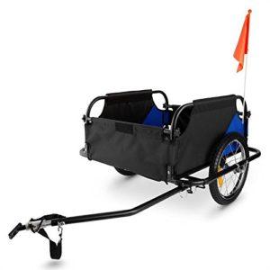 Duramaxx Mountee – Remorque de vélo, Attelage à vélo, Capacité 130L, Charge Max. 60kg, Toile en Nylon, Roues de 16″, Protection Anti-Pluie Incluse, Pliable, Poids env. 13,2kg, Bleu