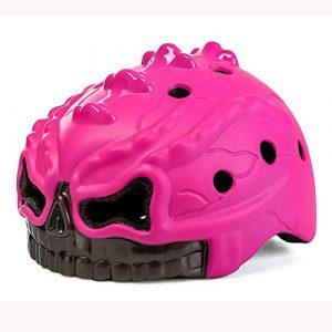 EDG Childs Crâne Casque de vélo avec feu arrière Lightweight Casques de sécurité Anti-Choc Sports de Plein air vélo d'une Seule pièce de Protection certifié CE Cap Rose