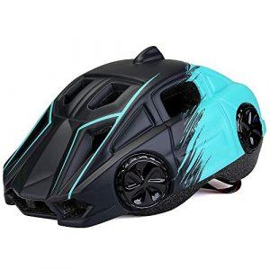 EDG Enfants Casque de vélo avec Feux arrière légère Anti-Choc de sécurité Casque Bleu Clair Forme Voiture d'une Seule pièce de Protection Cap Certification CE