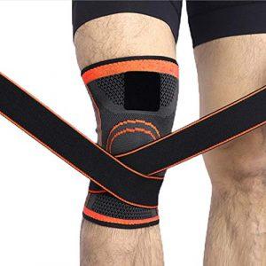 elegantstunning Genouillère de Protection Professionnelle pour genouillère Respirante, Orange L for Leg Circumference 43-52cm