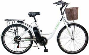 Elswick Vélo électrique Unisexe 24 V 7,8 Ah avec Panier, Facile à Conduire, Blanc/Vert, 43,2 cm