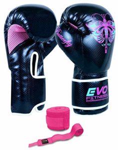 Evo Fitness Gants de boxe en Rexine pour femme Sac de frappe, arts martiaux MMA, Muay Thai, Kick boxing, 236,5ml