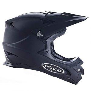Exclusky BMX Downhill Casques, Casque Intégraux Adulte Nero (Noir, Large(59-60cm))