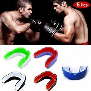 EZSMART 5 Pack protège-Dents, protège-gencives pour Adulte, Protecteur de Dents Professionnel Double Couleur pour protège-Dents de Boxe Football Karaté Lacrosse Hockey MMA Muay Thai (Adulte)