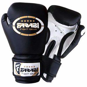 Farabi 113,4Gram Enfants Gants de Boxe Junior Gants MMA Cuir synthétique Gants de Boxe Noir