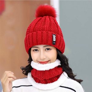 Femme Set Bonnet et écharpe Pompom Bonnet Hiver Chaud Tricot Beanie Chapeau Hiver Écharpe Tube Cercle Écharpe Doublure Polaire pour Femme