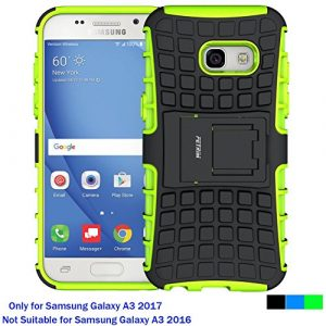 Fetrim Coque Samsung Galaxy A3 2017, Armure Support TPU Silicone + Plastique Protection Étui,Anti Chocs Bumper Hybride Protection Housse Cover pour Samsung Galaxy A3 2017 – Vert