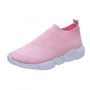 FOTBIMK Chaussures De Sport Femmes Mode en Plein Air Chaussures Plate Maille Respirante(Rose,39 EU)