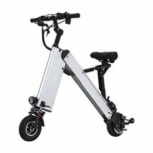FYJK Scooter électrique Mini Pliable Bcycle Poids 16KG avec 3 Gears Vitesse et 3 Amortisseurs Convient particulièrement aux Personnes de Plus de 50 Ans en Voyage,Blanc,25~30KM