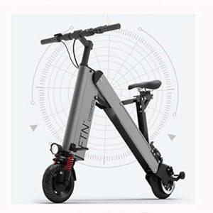 FYJK Scooter électrique Mini Pliable Bcycle Poids 16KG avec 3 Gears Vitesse et 3 Amortisseurs Convient particulièrement aux Personnes de Plus de 50 Ans en Voyage,Gris,35~40KM