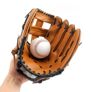 Gants de baseball en cuir PU solide, doux et épais, Gants de lanceur pour enfant/Ado/Adulte, Gant de baseball professionnel pour attraper les balles-Main gauche HCT24, L:12.5Inches