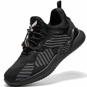 Garçon Fille Chaussures de Course Tennis Sneakers Femme Walking Shoes Baskets Mode Mixte Enfant Running Sneakers(Tout Noir 37 EU)