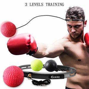 GOAMZ Boxe Balle, 3 Différents Boxing Reflex Ball + Bandeau Ajustable, pour Les Réactions de Vitesse d'entraînement s'améliorent, La Coordination Main-œil pour Les Adultes et Les Enfants