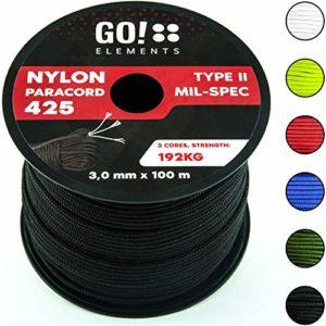 GO!elements 100m Corde Paracord en Nylon indéchirable – 3mm Corde Paracord 425 Type II Lignes comme Corde extérieure, Corde Tout Usage, Corde de Survie – Ligne en Nylon Max. 192kg, Couleur:Noir