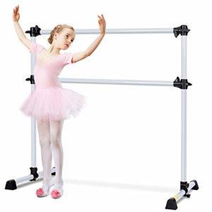 GOPLUS Barre de Danse Classique, Classique Ballet Barre de Danse Double, Streching Portable et Autoportante-Barre Amovible-Hauteur Réglable, Argent120x118x71CM