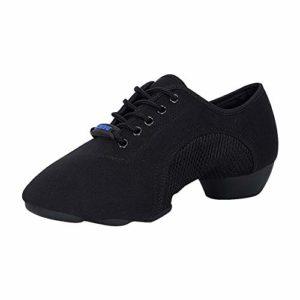 Gtagain Femmes Décontractée Noir Le Jazz Chaussures de Danse – Dames Respirant Chaussures Split Lacer des Chaussures Baskets Engrener Poids Léger Salle de Bal Latin Danse Moderne 38 EU