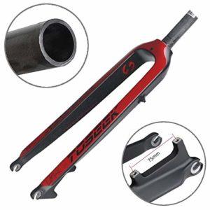 GUOLIANG Pièces de Rechange pour vélos Ultra léger 27,5 Pouces 405mm Mountain Bike Full Carbon Fourche Avant tête Droite Tube de Frein à Disque for VTT (Color : Red)