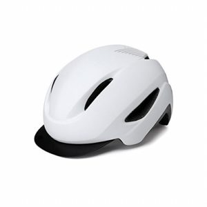GZZ Casque de Vélo pour Hommes Et Femmes Équipement D'Équitation, Capuchon Détachable d'une Seule Pièce,Plat Blanc l,L