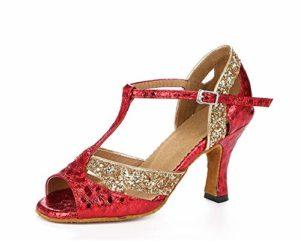 HCCY Chaussures de Danse Latine à Talons Hauts avec piqûre Rouge pour Adulte, Couture Rouge, 7.5cm, 41 cm