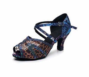 HCCY Poisson Bleu Bouche Chaussures de Danse Latine Creux Femmes intérieure Chaussures de Danse de Mode, 6cm, 35