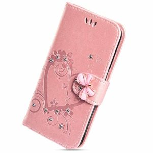Herbests Compatible avec iPhone 11 Pro Coque Paillette Strass Brillante Bling Bling Glitter Housse Ultra Slim Fine Leather PU Portefeuille Flip Wallet crédit Logement Case Etui,Or Rose