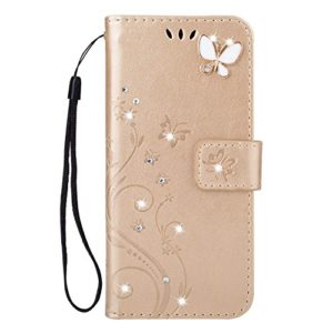 Herbests Compatible avec iPhone X/iPhone XS Etui de Protection PU Cuir Coque Motif Bookstyle Housse à Rabat Couverture Silicone TPU Bumper Folio Flip Case Cover Étui,d'or