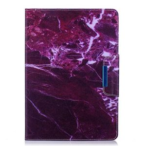 Herbests Compatible avec Samsung Galaxy Tab A 10.1 (T580/T585) Coque Cuir Plat Multifonction Flip Peinture et Rangement Carte Crédit Slot Portefeuille Etui Coloré Peint Case,Fuchsia