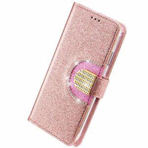 Herbests Coque Galaxy S6 Cuir Paillette Coque Antichoc Bling Pochette Etui en Cuir Miroir Coque à Rabat Magnétique Housse de Protection Flip Wallet Case avec 5 Porte-Cartes,Or Rose