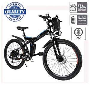 Hiriyt Vélo Electrique 26″ E-Bike – VTT Pliant 36V 250W Batterie au Lithium de Grande Capacité – Ville léger Vélo de avec moyeu 21 Vitesses (Noir, 26 Pouces)