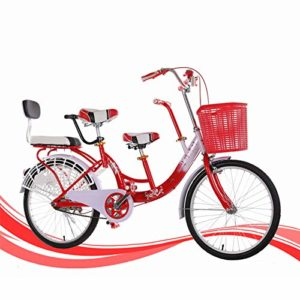 hj Parent-Enfant vélo, 22 Pouces en Acier au Carbone à Haute bébé Vélo Ville Voyage Vélo Adulte Parent-Enfant vélo,Rouge