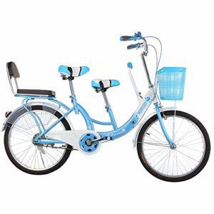 hj Parent-Enfant Vélo, Double V Frein Haute en Acier au Carbone City avec bébé Vélo 22 Pouces Mère et Enfant Vélo Parent-Enfant vélo,Bleu