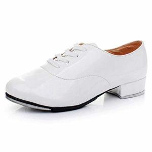 Homme Chaussures de Claquettes Lacets pour Danse Salon Latine Salsa Ballet Salsa Blanc 40