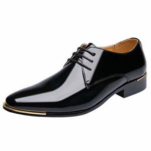 Hommes Chaussures Cuir Confortable Respirent Vernis Noir 1 cm Ballroom Respirent Pointure Bloc Talon Loisir Fashion Mariage Soulier Confortable