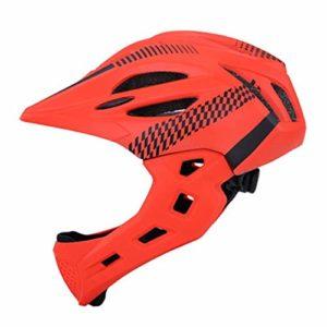 IAMZHL Casque de vélo détachable d'équilibre Unisexe avec éclairage arrière VTT extérieur vélo de Montagne Casque de vélo de Protection Menton-Orange
