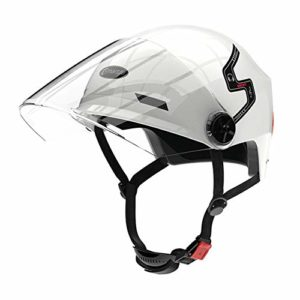 IAMZHL Vélo étanche Smart Flash Casques Mat Long Use Casque Back Light Mountain Road Scooter Hommes Femmes -E10 White