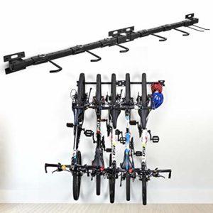 Ikkle Support Mural de Rangement pour Vélos, Range-vélos Support de Vélo Amovible et Assemblage Flexible pour 5 Vélos, Système de Rangement pour Accrocher Le Vélo pour Le Rangement de Maison Garage