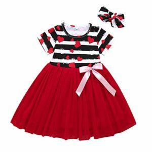 INLLADDY Bébé Enfants Filles Manche Courte Imprimé Amour Rayé Arc Tutu Princesse Robe Vêtements Rouge 110