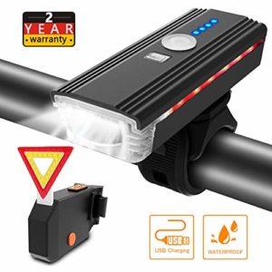 ITSHINY Lumière de Vélo USB Rechargeable – d'éclairage de Vélo de 400 Lumens Phare de vélo, Eclairage Avant avec klaxon, Feux Arrière à LED, étanche, Facile à Installer pour Le Cyclisme en Montagne