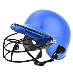 Jacksking Casque de frappeur Casque de frappeur Senior Casque de frappeur de Baseball Équipement de Protection avec Masque Facial pour Enfants Adultes Adolescent(Bleu)
