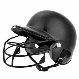 Jacksking Casque de frappeur Casque de frappeur Senior Casque de frappeur de Baseball Équipement de Protection avec Masque Facial pour Enfants Adultes Adolescent(Noir)