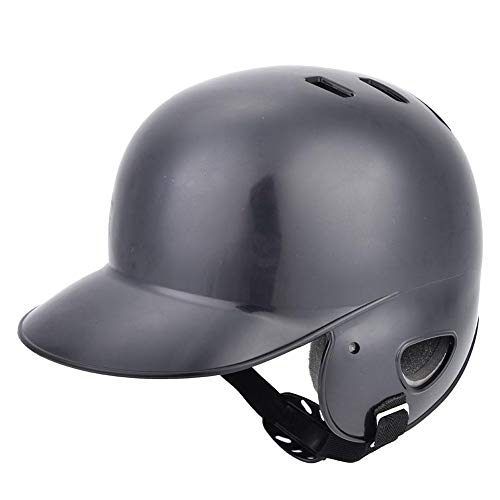 Jacksking Équipement de Protection de Casque de frappeur de Baseball de Sport avec Sangle pour Adolescent Adulte, Coque ABS résistante aux Chocs(Noir)