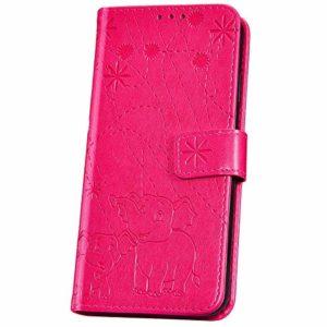JBGM Coque Galaxy J4 Core Pochette,Galaxy J4 Core Étui Portefeuille en Cuir,Mode éléphant Fleur Motif Coque a Rabat Cuir PU Magnétique Porte Carte Housse de Protection Strand Flip Case,Rose Rouge