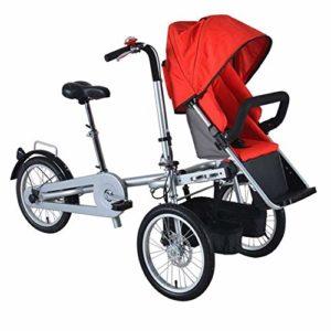 JHSHENGSHI 2-en-1 Double Enfant vélo bébé,Double Poussette de bébé de vélo d'enfant,Poussette Double vélo Poussette Pliant Tricycle Deux sièges utilisé Adulte Unisexe,Red