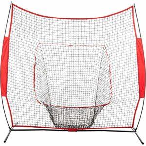 Jklt Filet D'entraînement de Baseball Net Baseball Portable Bash et Pitch 210x210cm Pratique Mesh Ceinture Sac fourre-Tout Usage extérieur Conception Facile à Utiliser et Stable