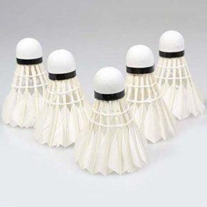 Kaemma 5pcs Plume d'oie Volant Oiseau Blanc Balle de Badminton Jeu Sport Formation Hot (Color:White)