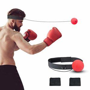 KATOOM Balle de Combat Boxing Réflexe Ball Fight Vitesse Exclusive, avec 2 Bandes de protèction Les Main,pour Fitness, Perte de Poids, Divertissement, Hommes et Femmes